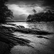 Black And White Art Prints - Winter Moonlight Wolfes Neck Woods Maine Print by Bob Orsillo