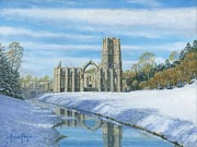 Landscape Greeting Card Painting Originals - Winter Morning Fountains Abbey Yorkshire by Richard Harpum