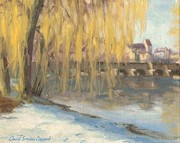 Riviere Painting Originals - Winter morning in Grez - Matin hivernal en Grez by David Ormond