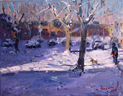 Snow Dog Posters - Winter Morning in my Courtyard Poster by Ylli Haruni