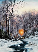 Cold Morning Sun Paintings - Winter morning by Vesna Martinjak