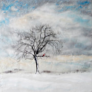 Cardinal Paintings - Winter Morning by Victoria Primicias