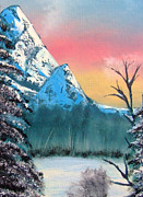 Great Outdoors Painting Originals - Winter Mountain Twilight by Marianne NANA Betts