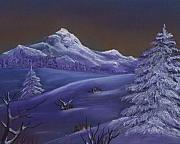 Rural Snow Scenes Originals - Winter Night by Anastasiya Malakhova