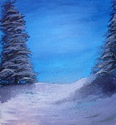 Snow-covered Landscape Painting Posters - Winter Night Poster by Dan Haley