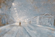 Night Lamp Paintings - Winter night by Jiri Capek
