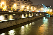 Parisian Streets Posters - Winter Night on the Seine in Paris Poster by Mark E Tisdale