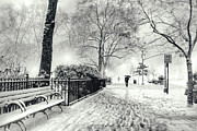New York City Prints - Winter Night - Snow - Madison Square Park - New York City Print by Vivienne Gucwa