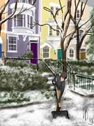 Washington D.c. Drawings Posters - Winter on Capitol Hill Poster by Lois Ivancin Tavaf
