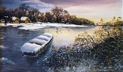Landscapes Art - Winter on River by Vesna Martinjak