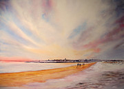 Waterscape Painting Metal Prints - Winter on St Andrews Scotland Metal Print by Beatrice Cloake