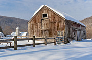 New England Snow Scene Digital Art Posters - Winter On The Farm Poster by Bill  Wakeley