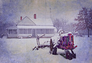 Red Farmhouse Prints - Winter on the Farm Print by David and Carol Kelly