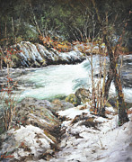 Gatlinburg Painting Framed Prints - Winter on the Greenbriar Framed Print by Katherine Tucker