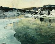 Thaulow Framed Prints - Winter on the Mesna River Near Lillehammer Framed Print by Fritz Thaulow