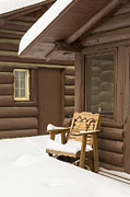 Log Cabin Photos - Winter on the Patio by Tim Grams