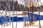Maine Paintings - Winter Open River by Laura Tasheiko