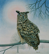 Snowy Trees Paintings - Winter Owl by Ditz