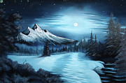 Snowy Night Painting Metal Prints - Winter Painting a la Bob Ross Metal Print by Bruno Santoro