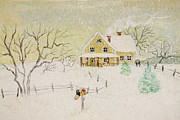 Sandra Cunningham - Winter painting of house with mailbox/ digitally altered