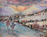 New England Snow Scene Metal Prints - Winter Painting with Village and snowy mountains  Metal Print by Russ Potak