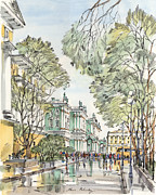 City Scene Drawings - Winter Palace Saint Petersburg by Maria Rabinky