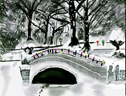 Park Scene Digital Art Prints - Winter Park in NY Print by Gene Derow