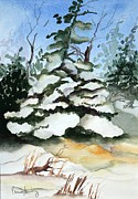 Snowy Trees Paintings - Winter by Penny Stroening