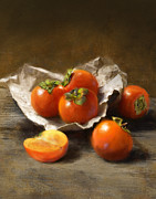Robert Papp Painting Prints - Winter Persimmons Print by Robert Papp
