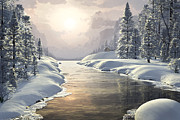 Skiing Art Print Paintings - Winter Piece by John Robichaud