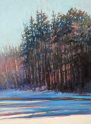Massachusetts Pastels Posters - Winter Pines Poster by Ed Chesnovitch