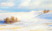 Snowscape Art - Winter Poplars by Theresa Tahara