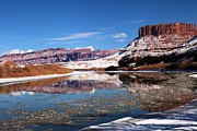 Reflections In River Framed Prints - Winter Red Rock Reflections Framed Print by Adam Jewell