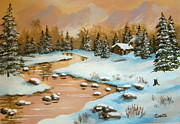 Disney Artist Paintings - Winter  Reflection  by Shasta Eone