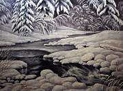 Snowy Trees Paintings - Winter Reflections in Montana by Lori Salisbury