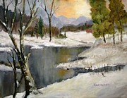 Snowscape Paintings - Winter Reflections by Larry Hamilton