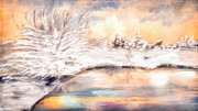 Lobby Art Paintings - Winter Reflections on Frozen Norway Lake by Angela A Stanton