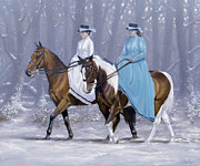 Equestrian Prints Posters - Winter ride Poster by John Silver