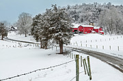 Winter Scenes Rural Scenes Prints - Winter Road Print by Bill  Wakeley