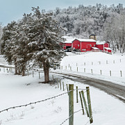 Red Barn. New England Prints - Winter Road Square Print by Bill  Wakeley