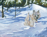 Cairn Terrier Posters - Winter Romp Poster by Molly Poole