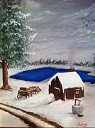 Snowy Night Painting Posters - Winter Poster by Roy J Moyle