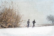 Runner Digital Art - Winter Runners by Betty LaRue