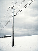 Telephone Pole Framed Prints - Winter Rural Scene Framed Print by Edward Fielding