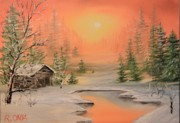 Amazing Sunset Painting Framed Prints - Winter Scene 2 Framed Print by Remegio Onia