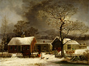 Winter Scenes Rural Scenes Framed Prints - Winter Scene in New Haven Connecticut 1858 by Durrie Framed Print by Movie Poster Prints