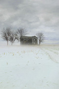 Sandra Cunningham - Winter scene of a farmhouse/Digital Painting
