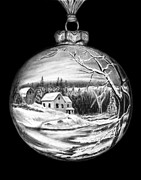Graphite Pencil Drawings - Winter Scene Ornament by Peter Piatt