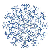 Winter Tapestries - Textiles Prints - Winter Scene Snowflake Print by Eric Fronapfel