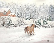 Snow-covered Landscape Painting Posters - Winter Scene Poster by Tammy Crawford